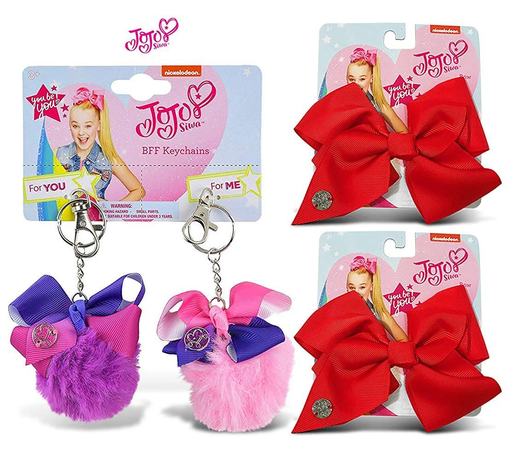 Warp Gadgets Bundle - JoJo Siwa BFF Fur Pompom Keychains Pink & Purple Also 2 Red Basic Bows on Metal Salon Clip (3 Items)