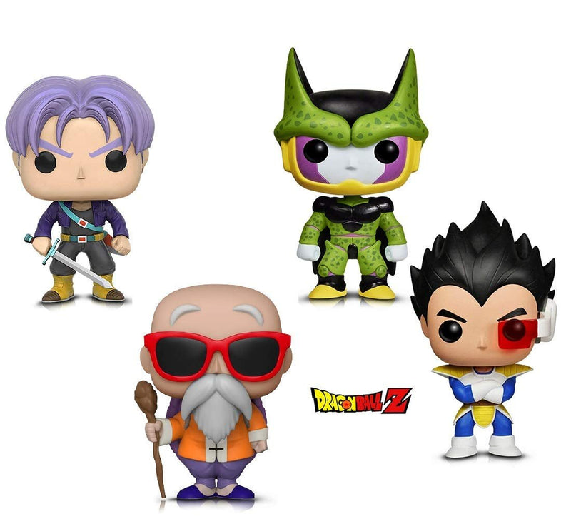 Warp Gadgets Bundle - Funko Pop! Animation: Dragonball Z - Perfect Cell, Vegeta, Trunks & Master Roshi W/ Staff (4 Items)