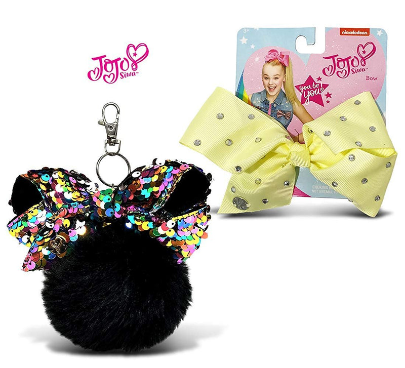 Warp Gadgets Bundle - JoJo Siwa Black Fur Ball with Mini Sequin Bow and Light Yellow Signature Bow with Rhinestones (2 Items)