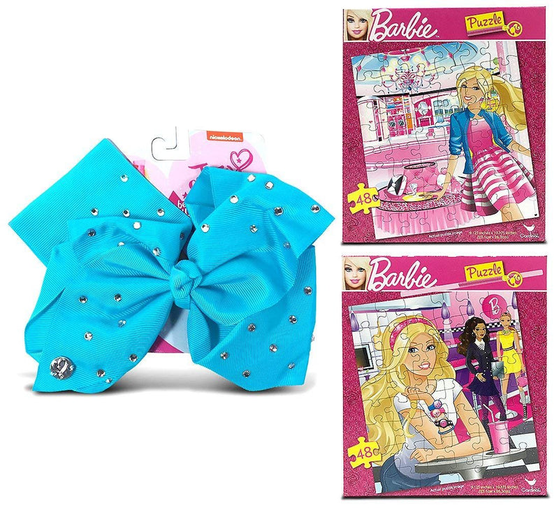 Warp Gadgets Bundle - 2 Mattel Barbie Jigsaw Puzzles 48Pcs, 9.125 X 10.3 Inches And A Jojo Siwa Teal Signature Bow With Rhinestones (3 Items)