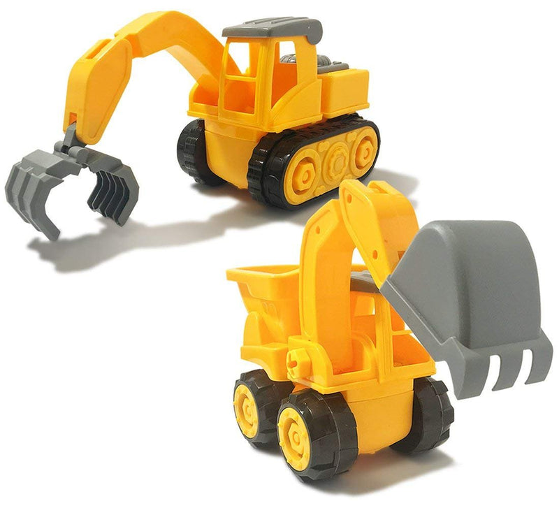 Warp Gadgets Bundle - Construction Excavator Truck and Claw Truck - Create & Play Set - Build, Assemble, Take Apart, DYI Toy (2 Items)