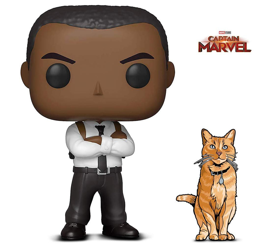 Warp Gadgets Bundle - Funko Pop! Marvel: Captain Marvel - Nick Fury and Figpin Mini - Captain Marvel: Goose The Cat - Collectible Enamel Pin (2 Items)