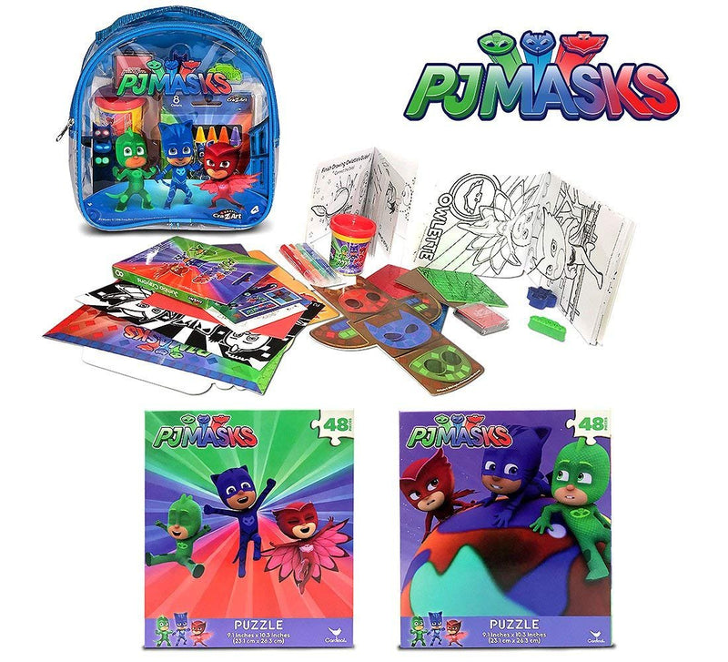 Warp Gadgets Bundle - 2 Pj Masks 48Pc Puzzles & Blue Activity Backpack (3 Items)