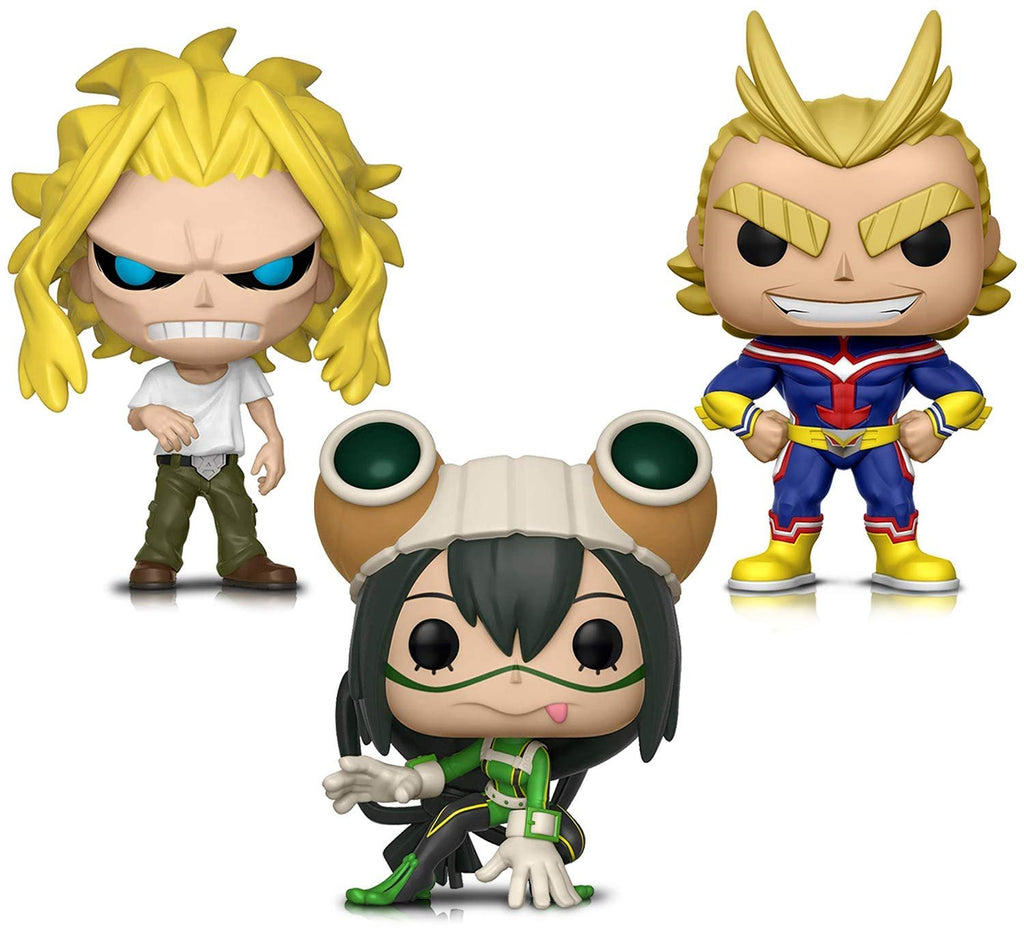 Warp Gadgets Bundle - Funko Pop! Animation: My Hero Academia - All Might, All Might (weakened) and Tsuyu Asui - Vinyl Figures (3 Items)