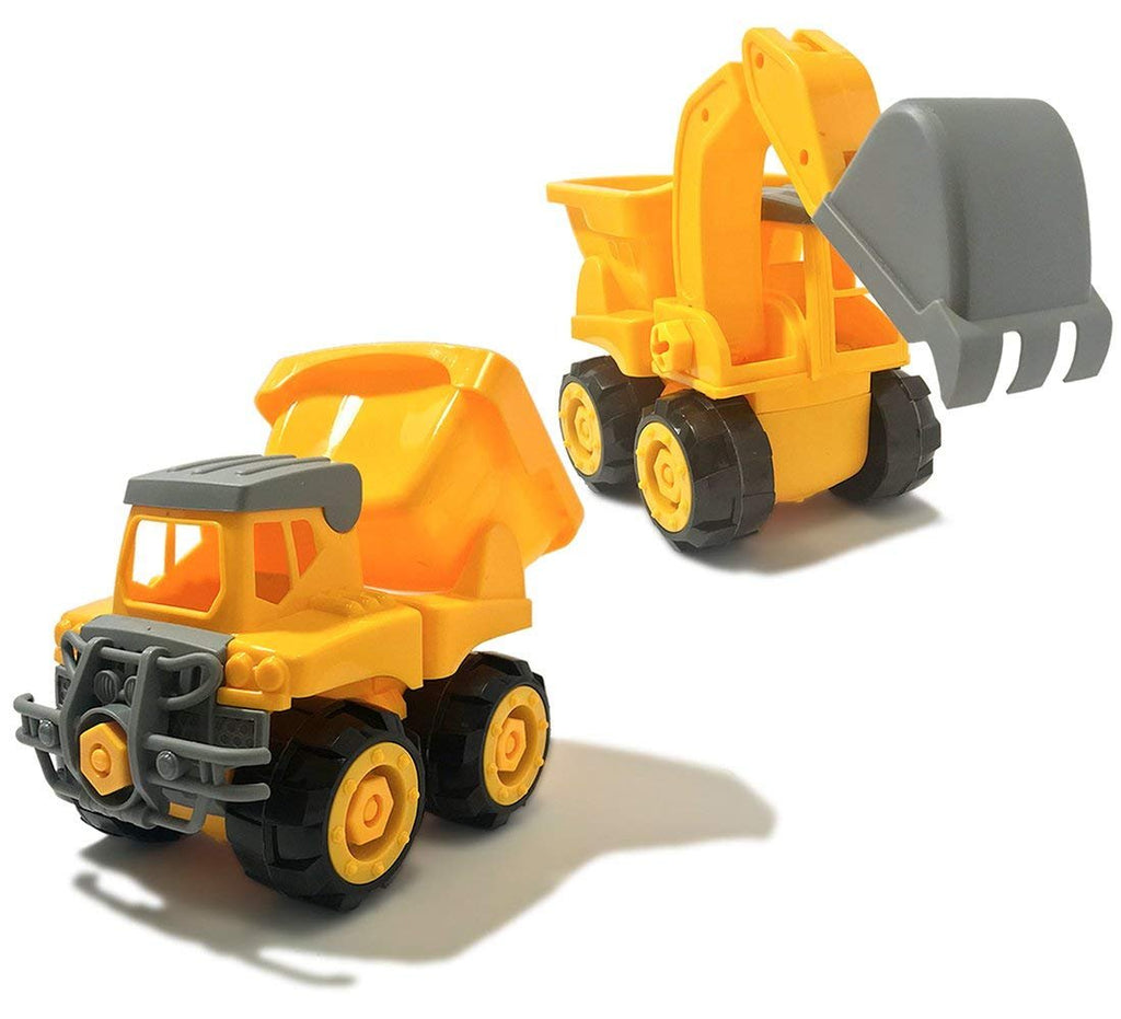 Warp Gadgets Bundle - Construction Dump Truck and Excavator Truck - Create & Play Set - Build, Assemble, Take Apart, DYI Toy (2 Items)