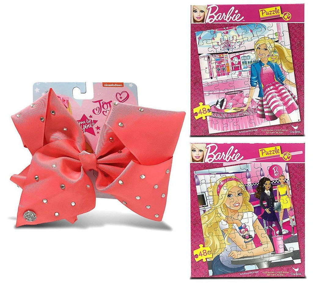 Warp Gadgets Bundle - 2 Mattel Barbie Jigsaw Puzzles 48Pcs, 9.125 X 10.3 Inches And A Jojo Siwa Coral Signature Bow With Rhinestones (3 Items)