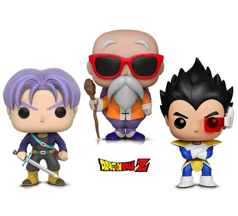 Warp Gadgets Bundle - Funko Pop! Animation: Dragonball Z - Vegeta, Trunks & Master Roshi W/ Staff (3 Items)