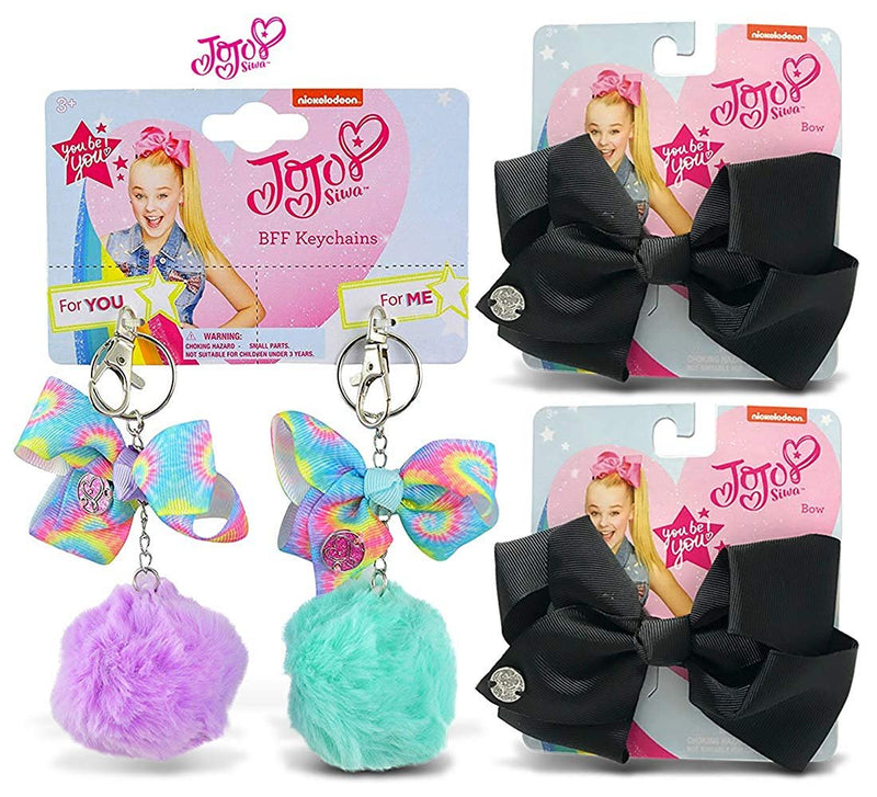 Warp Gadgets BFF Bundle - JoJo Siwa BFF Fur Pompom Keychains Light Purple and Light Green Also 2 Black Basic Bows (3 Items)
