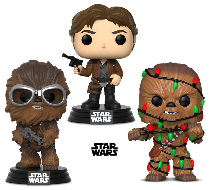 Warp Gadgets Bundle - Funko Pop! Star Wars: Holiday Chewie with Lights & Star Wars: Solo Chewbacca and Han Solo (3 Items)