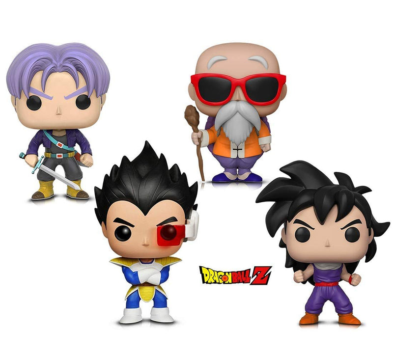 Warp Gadgets Bundle - Funko Pop! Animation: Dragonball Z - Gohan (Training Outfit), Vegeta, Trunks, Master Roshi W/ Staff (4 Items)