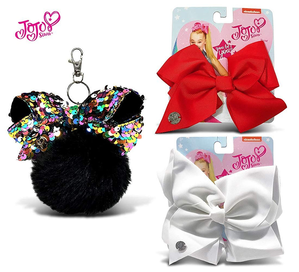 Warp Gadgets Bundle - JoJo Siwa Black Fur Ball with Mini Sequin Bow & White and Red Basic Bows on Metal Salon Clip (3 Items)