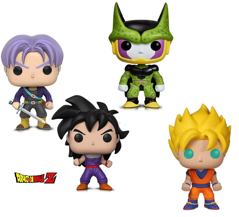Warp Gadgets Bundle - Funko Pop! Animation: Dragonball Z - Perfect Cell, Super Saiyan Goku, Gohan (Training Outfit) & Trunks (4 Items)