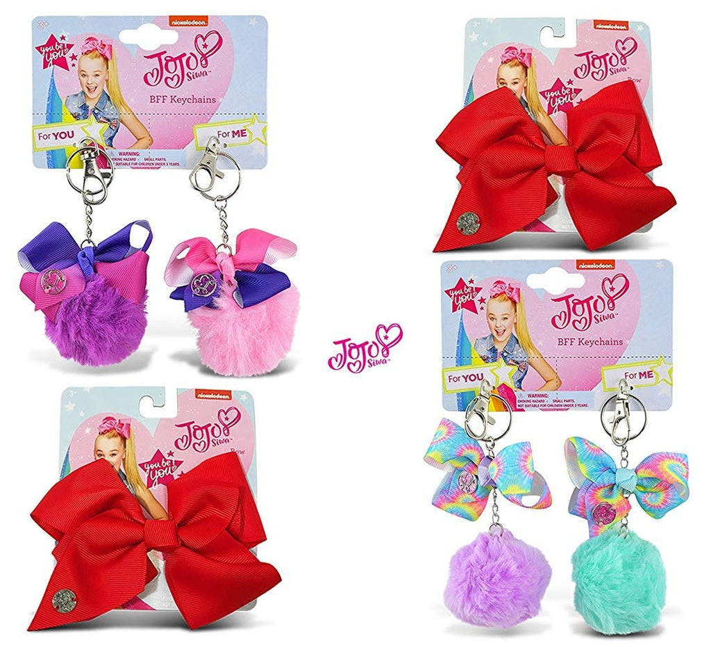 Warp Gadgets Bundle - JoJo Siwa BFF Fur Pompom Keychains Light Purple, Light Green, Pink & Purple and 2 Red Bows (4 Items)