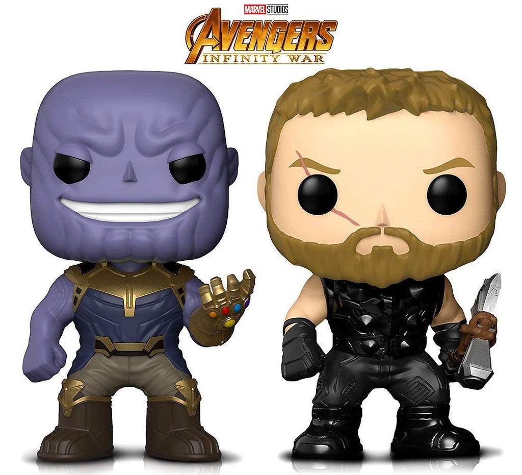 Warp Gadgets Bundle - Funko Pop! Marvel Avengers Infinity War - Thanos & Thor Bobbleheads (2 Items)