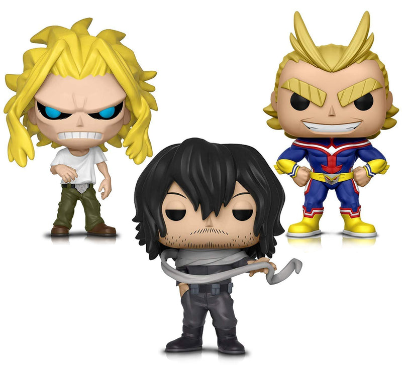 Warp Gadgets Bundle - Funko Pop! Animation: My Hero Academia - All Might, All Might (weakened) and Shota Aizawa - Vinyl Figures (3 Items)