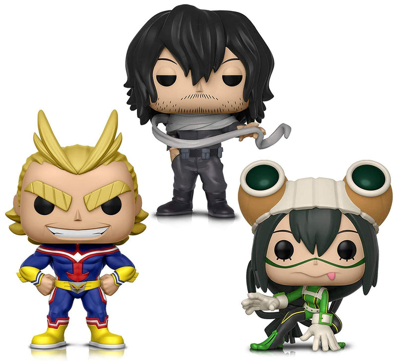 Warp Gadgets Bundle - Funko Pop! Animation: My Hero Academia - All Might, Tsuyu Asui and Shota Aizawa - Vinyl Figures (3 Items)