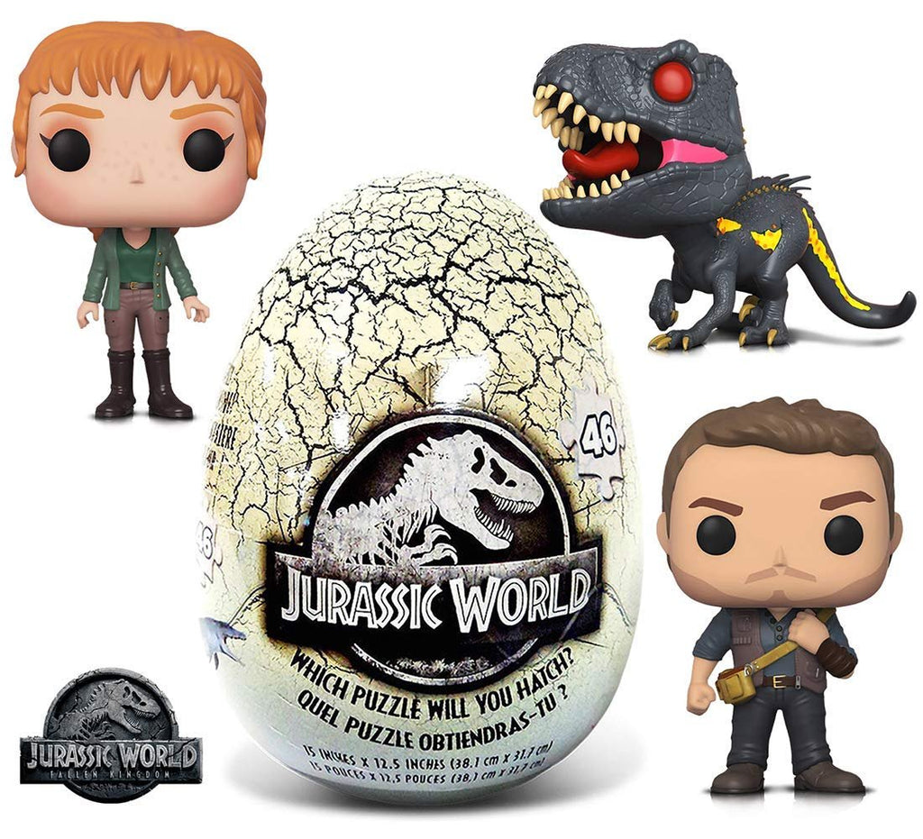 Warp Gadgets Bundle - Funko POP Movies Jurassic World 2 Owen, Claire, Indoraptor and 46 Piece Mystery Egg Puzzle (4 Items)