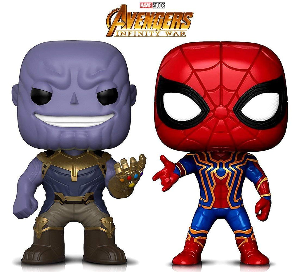 Warp Gadgets Bundle - Funko Pop! Marvel Avengers Infinity War - Thanos & Iron Spider Bobbleheads (2 Items)