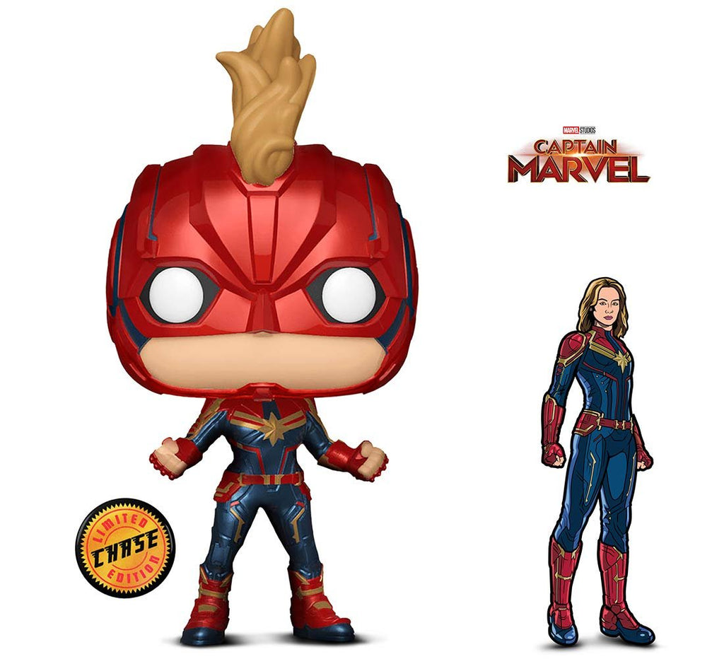 Warp Gadgets Bundle - Funko Pop! Marvel: Captain Marvel Masked Chase and Figpin - Captain Marvel - Collectible Enamel Pin (2 Items)