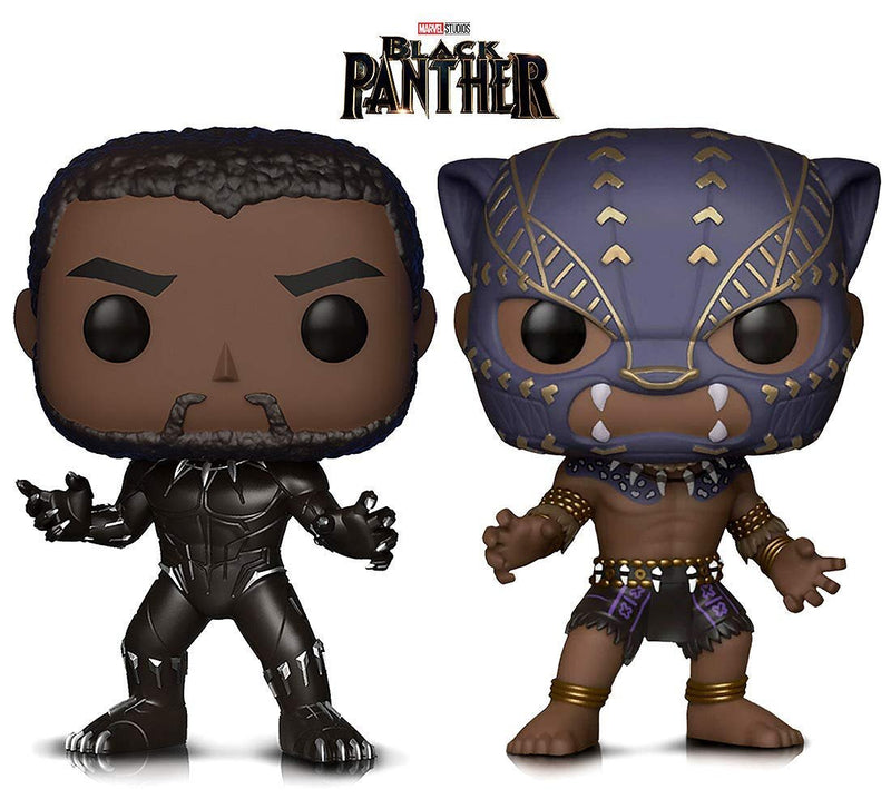 Warp Gadgets Bundle - Marvel Black Panther and Black Panther Warrior Fall Vinyl Figures (2 Items)