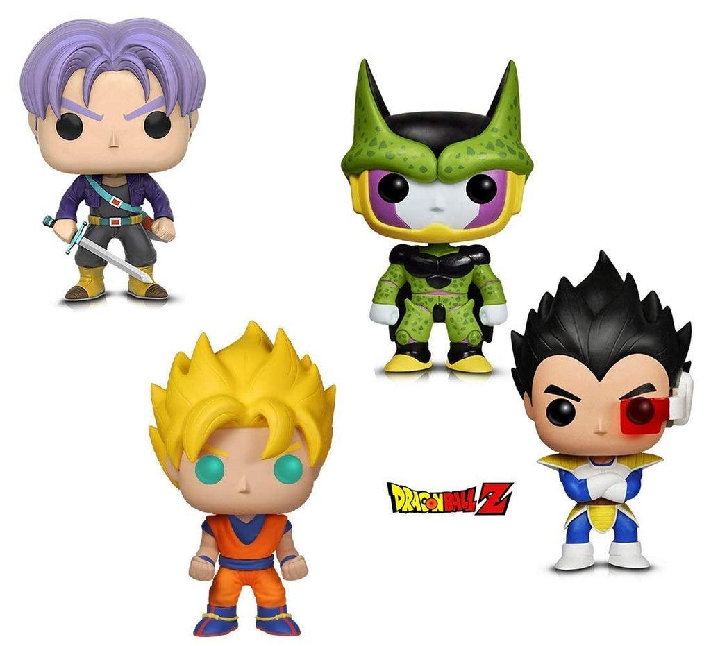 Warp Gadgets Bundle - Funko Pop! Animation: Dragonball Z - Perfect Cell, Super Saiyan Goku, Vegeta & Trunks (4 Items)