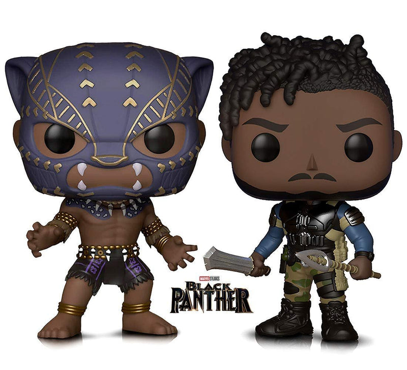 Warp Gadgets Bundle - Marvel Black Panther Killmonger and Black Panther Warrior Fall Vinyl Figures (2 Items)