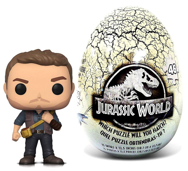 Warp Gadgets Bundle - Funko POP Movies Jurassic World 2 Owen and Jurassic World 46 piece Mystery Egg Puzzle (2 Items)