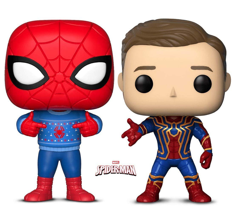 Warp Gadgets Bundle - Funko Pop! Marvel: Holiday Spider-Man with Ugly Sweater & Marvel Avengers Infinity War Iron Spider Unmasked - Box Lunch Exclusive (2 Items)