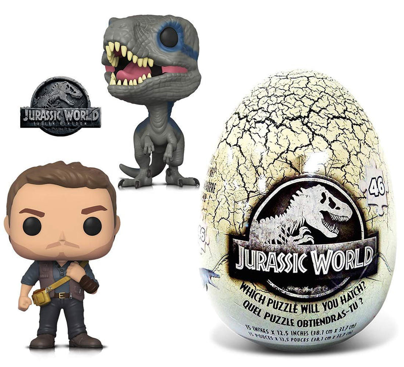 Warp Gadgets Bundle - Funko POP Movies Jurassic World 2 Owen, Blue and 46 Piece Mystery Egg Puzzle (3 Items)