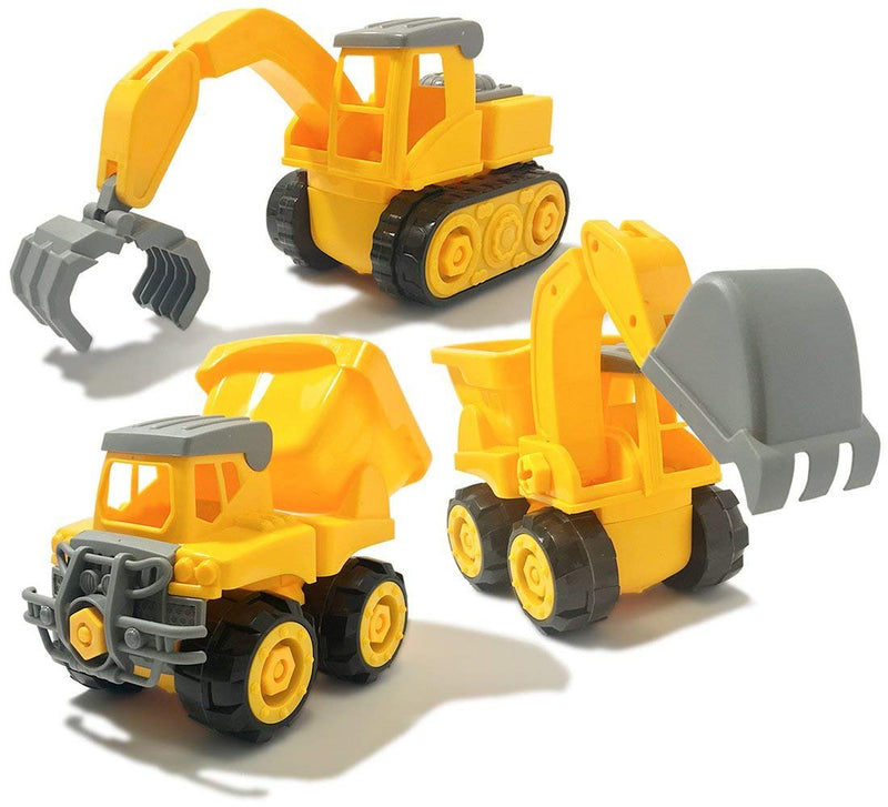 Warp Gadgets Bundle - Construction Dump Truck, Excavator, and Claw Truck - Create & Play Set - Build, Assemble, Take Apart, DYI Toy (3 Items)