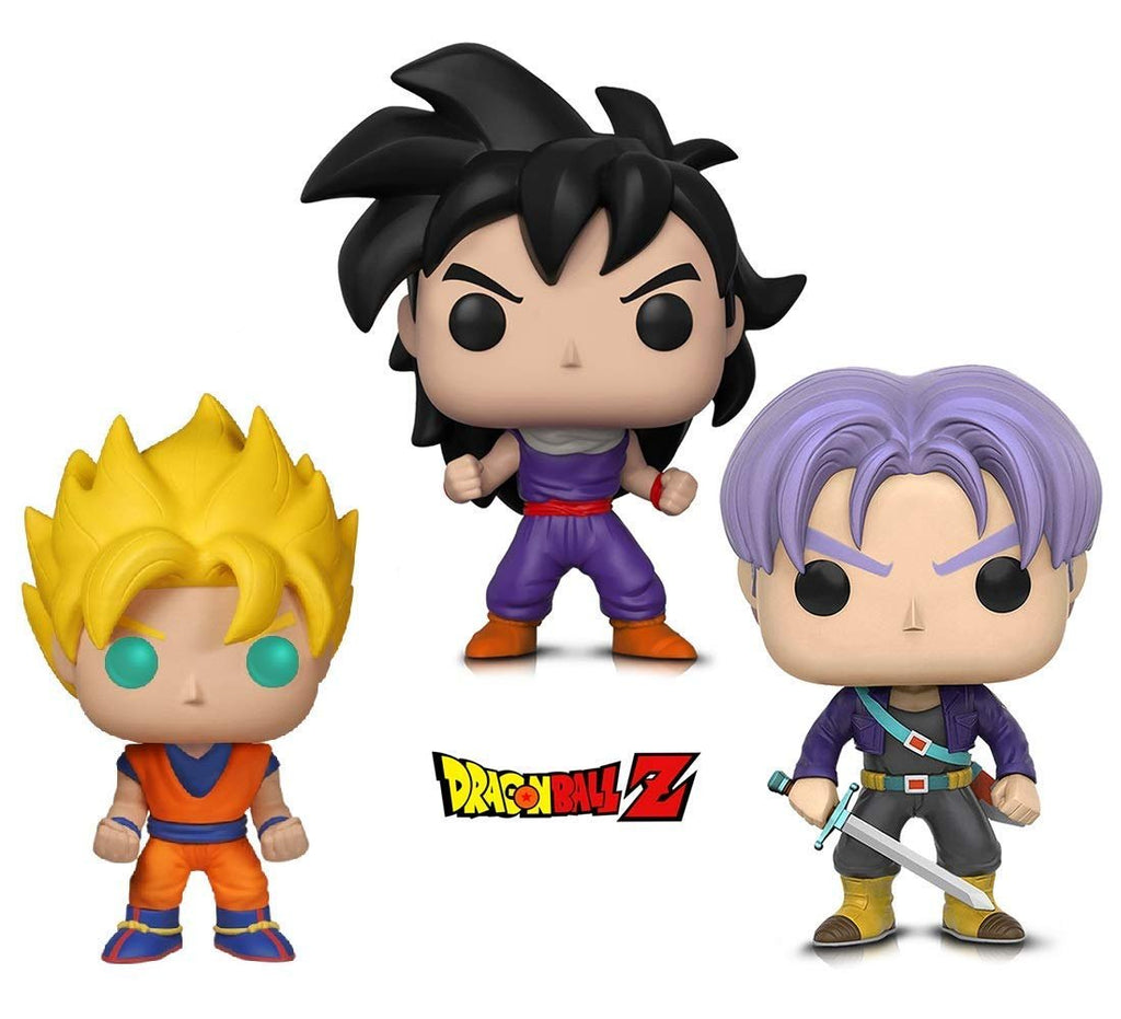 Warp Gadgets Bundle - Funko POP! Animation: Dragonball Z - Super Saiyan Goku, Gohan (Training Outfit) & Trunks (3 Items)