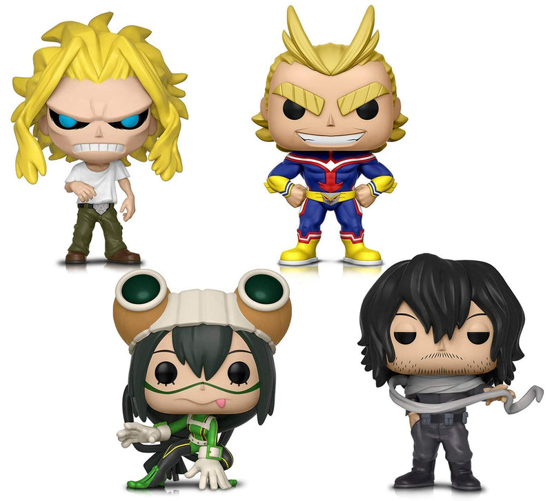 Warp Gadgets Bundle - Funko Pop! Animation: My Hero Academia - All Might, All Might (weakened), Tsuyu Asui and Shota Aizawa - Vinyl Figures (4 Items)