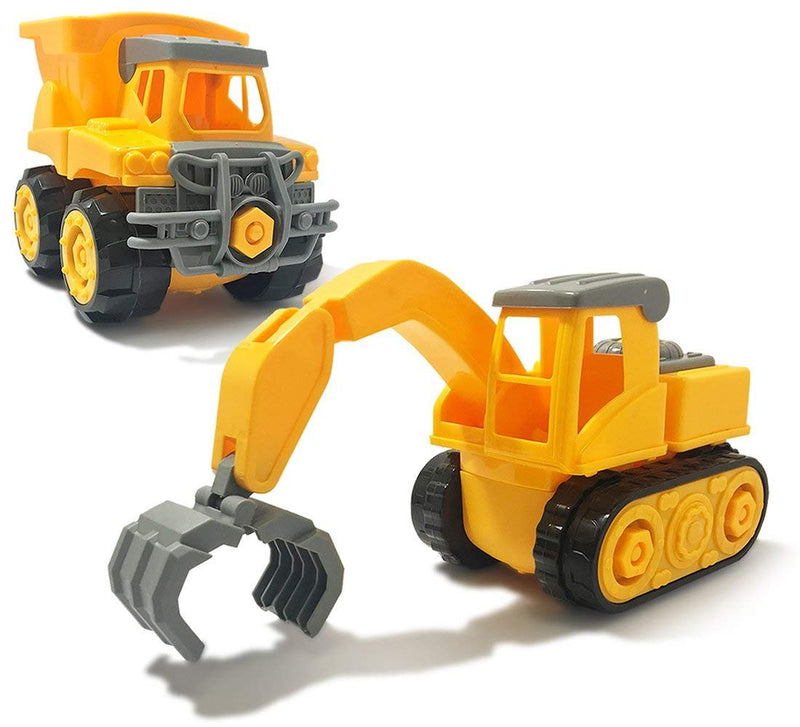 Warp Gadgets Bundle - Construction Dump Truck and Claw Truck - Create & Play Set - Build, Assemble, Take Apart, DYI Toy (2 Items)