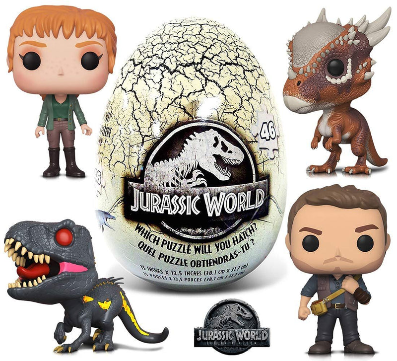 Warp Gadgets Bundle - Funko POP Movies Jurassic World 2 Blue, Indoraptor, Stygimoloch , Claire and 46 Piece Mystery Egg Puzzle (5 Items)