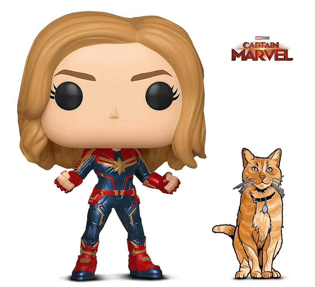 Warp Gadgets Bundle - Funko Pop! Marvel: Captain Marvel and Figpin Mini - Captain Marvel: Goose The Cat - Collectible Enamel Pin (2 Items)