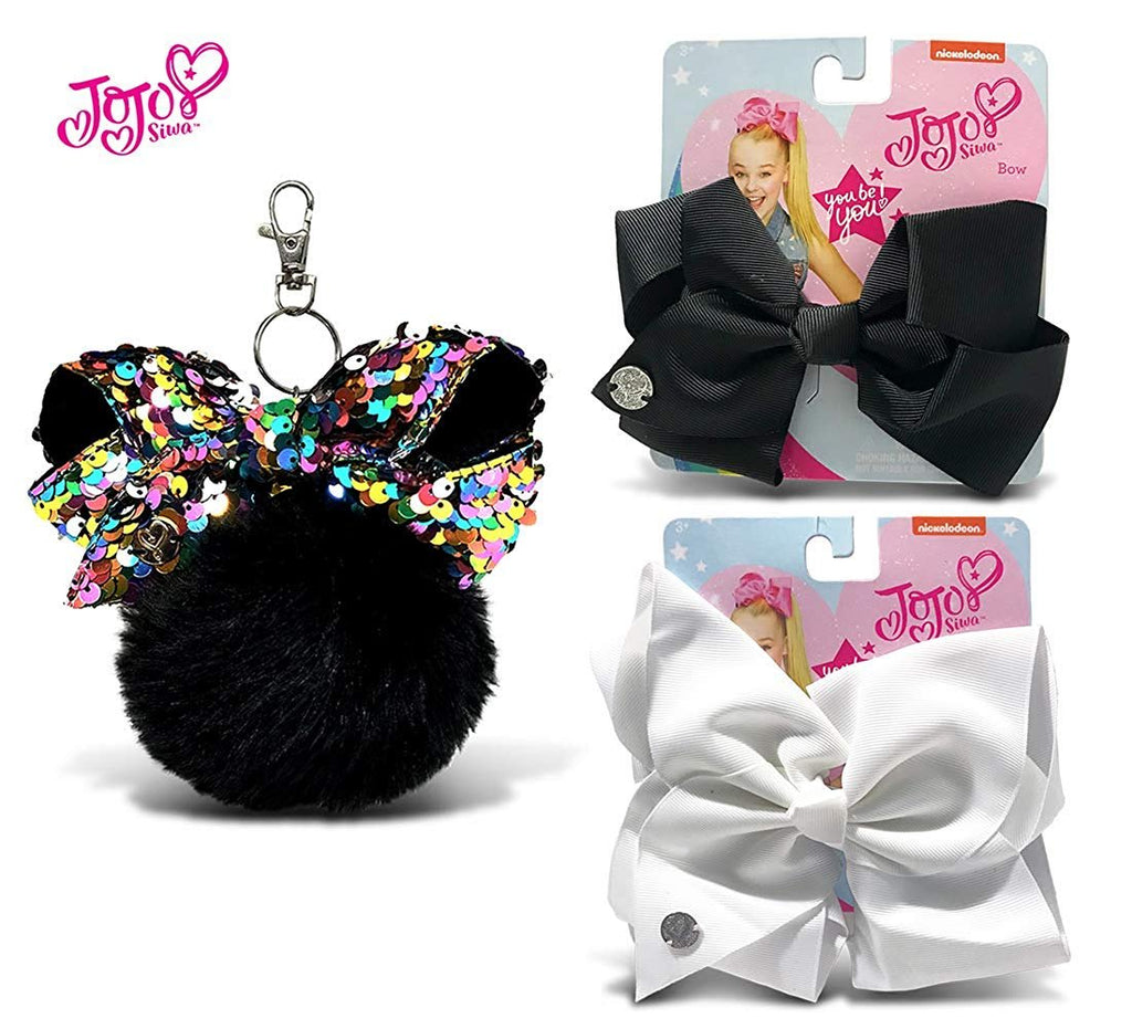 Warp Gadgets Bundle - JoJo Siwa Black Fur Ball with Mini Sequin Bow, White and Black Basic Bows on Metal Salon Clip (3 Items)