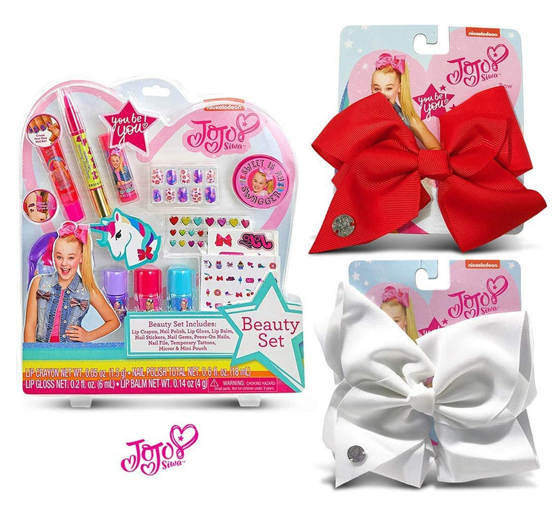 Warp Gadgets Bundle - JoJo Siwa Beauty Cosmetic Set and White and Red Basic Bows on Metal Salon Clip (3 Items)