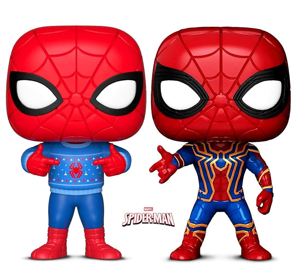 Warp Gadgets Bundle - Funko Pop! Marvel: Holiday Spider-Man with Ugly Sweater & Marvel: Infinity War Iron Spider (2 Items)