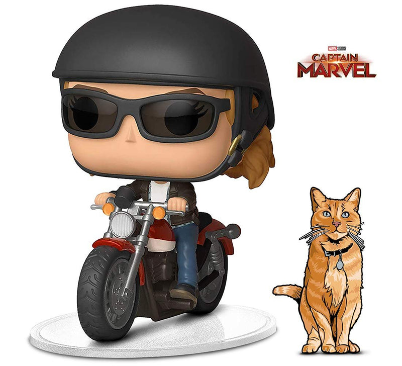 Warp Gadgets Bundle - Funko Pop! Ride Marvel: Captain Marvel - Carol Danvers On Motorcycle and Figpin Mini - Captain Marvel: Goose The Cat - Collectible Enamel Pin (2 Items)