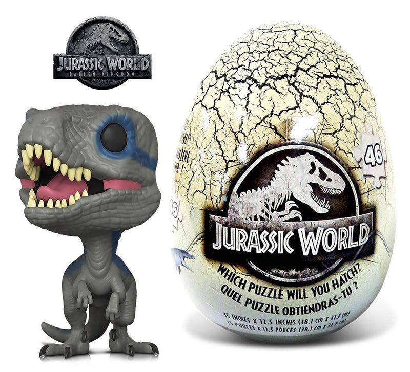Warp Gadgets Bundle - Funko POP Movies Jurassic World 2 Blue and 46 Piece Mystery Egg Puzzle (2 Items)