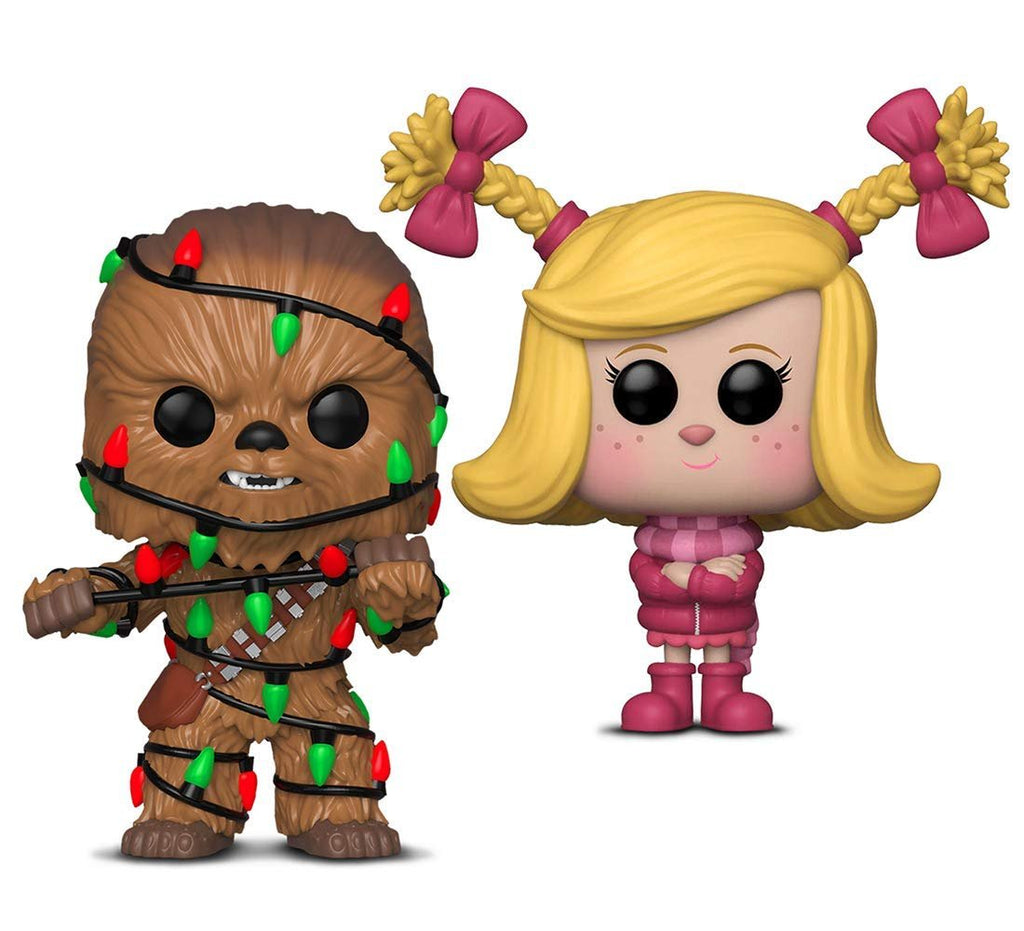 Warp Gadgets Bundle - Funko Pop! Star Wars: Holiday Chewie with Lights & Funko Pop Animation: The Grinch Movie Cindy Lou (2 Items)