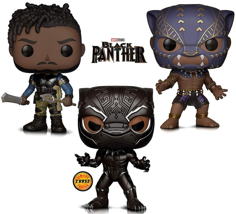 Warp Gadgets Bundle - Marvel Black Panther Limited Edition Chase, Black Panther Warrior Fall and Killmonger Vinyl Figures (3 Items)