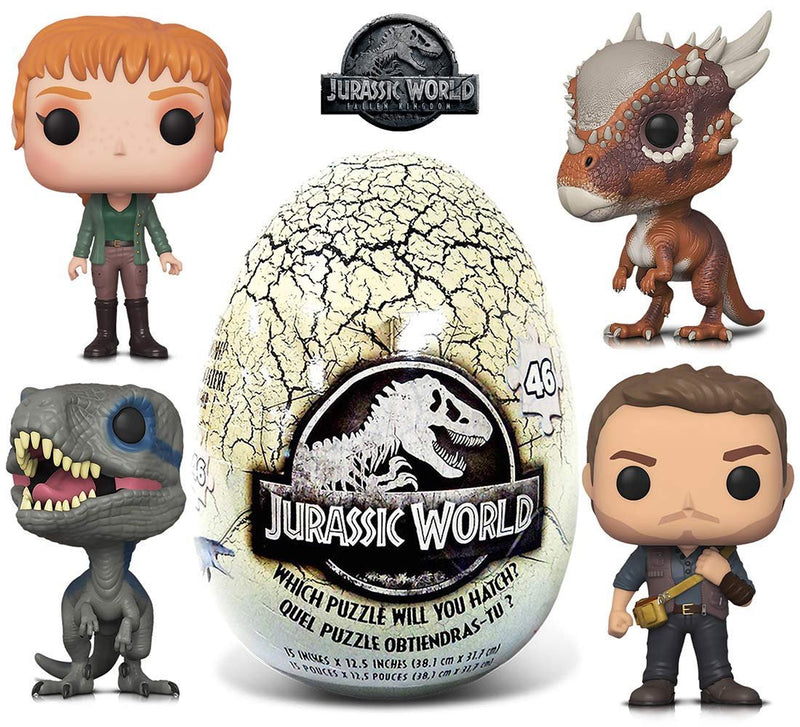 Warp Gadgets Bundle - Funko POP Movies Jurassic World 2 Owen, Claire, Blue, Stygimoloch and 46 Piece Mystery Egg Puzzle (5 Items)