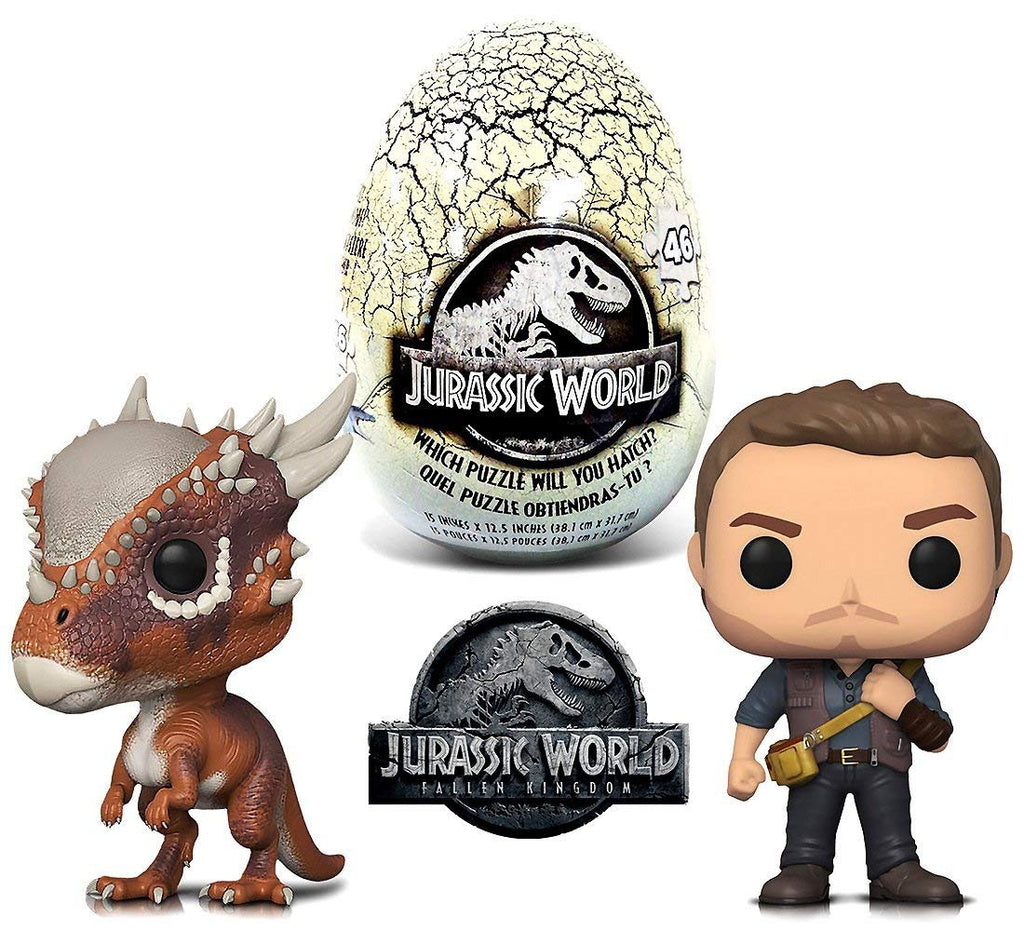 Warp Gadgets Bundle - Funko POP Movies Jurassic World 2 Owen, Stygimoloch and Jurassic World 46 piece Mystery Egg Puzzle (3 Items)