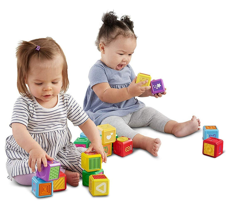 Warp Gadgets Bundle - Fisher-Price Laugh & Learn 6 Piece Block Shapes and 10 Piece First Words Numbers Blocks Set (2 Items)