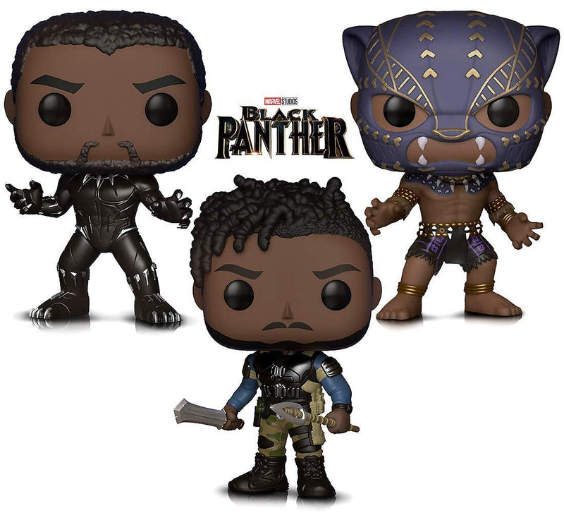 Warp Gadgets Bundle - Marvel Black Panther, Black Panther Warrior Fall and Killmonger Vinyl Figures (3 Items)