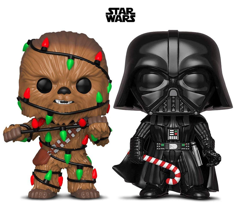 Warp Gadgets Bundle - Funko Pop! Star Wars: Holiday Chewie with Lights and Darth Vader with Candy Cane (2 Items)