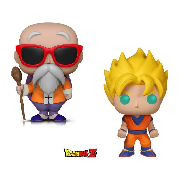 Warp Gadgets Bundle - Funko Pop! Animation: Dragonball Z - Super Saiyan Goku & Master Roshi W/ Staff (2 Items)