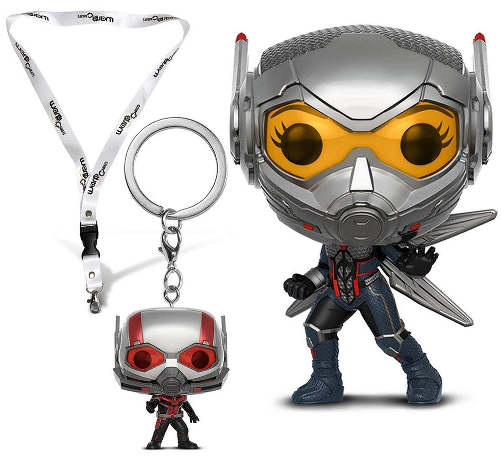 Warp Gadgets Bundle - Funko Pop Marvel: Ant-man & the Wasp: The Wasp, Pocket Pop Keychain Ant-man, and BONUS Lanyard with Metal Clip (3 Items)
