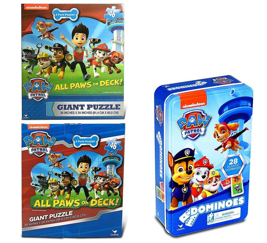 Warp Gadgets Bundle - Nickelodeon Paw Patrol Giant Puzzle 46Pcs, 36 X 24 Inches And Paw Patrol Dominoes Tin (2 Items)